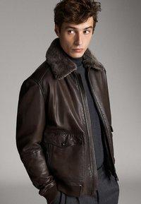 Massimo Dutti - Leren jas - brown - 0