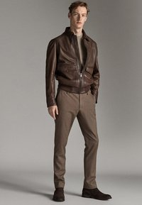 Massimo Dutti - Leather jacket - brown - 1