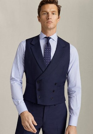 ZWEIREIHIGE MARINEBLAUE WESTE AUS REINER WOLLE MIT STRUKTURMUSTE - Gilet elegante - blue
