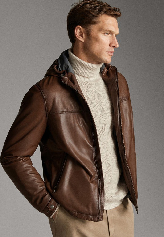 Massimo Dutti - JACKE AUS NAPPALEDER MIT KAPUZE 03324234 - Veste en cuir - brown
