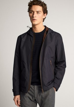 MIT KAPUZE - Summer jacket - blue-black denim
