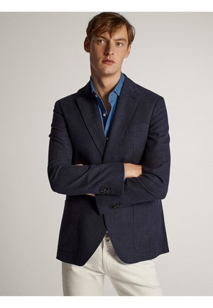 MARINEBLAUER SLIM-FIT-BLAZER AUS BAUMWOLLE IN MELIERTER OPTIK 02 - Blazer jacket - blue-black denim