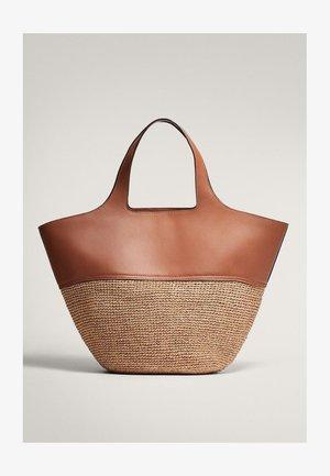 MIT LEDER UND RAPHIA  - Shopping bag - brown