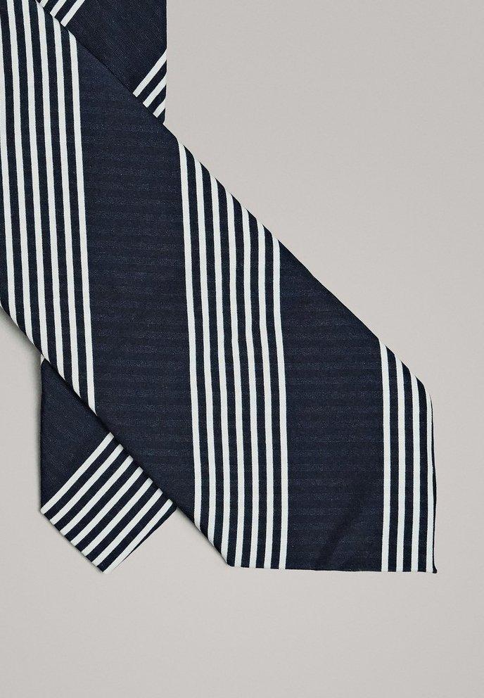 Massimo Dutti MIT STREIFEN  - Cravate - blue-black denim