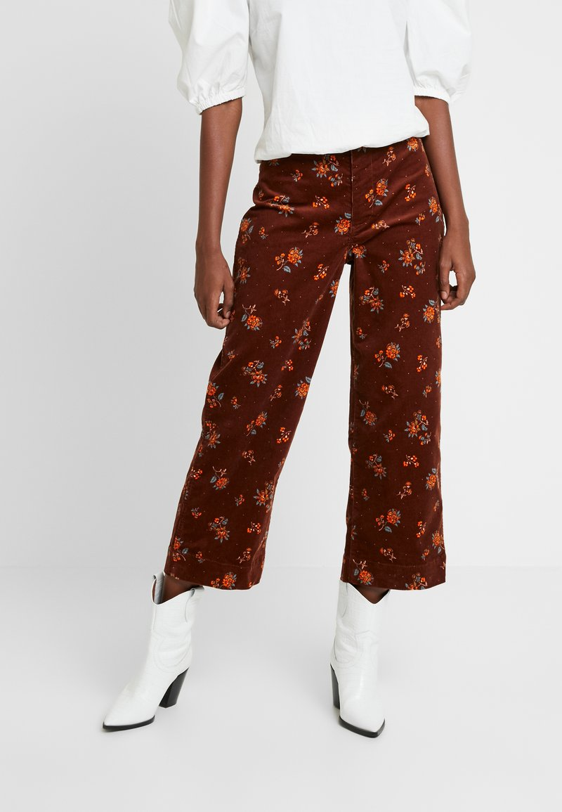 Madewell - BUTTON FRONT EMMETT PRINTED BABY WALE - Trousers - maple syrup
