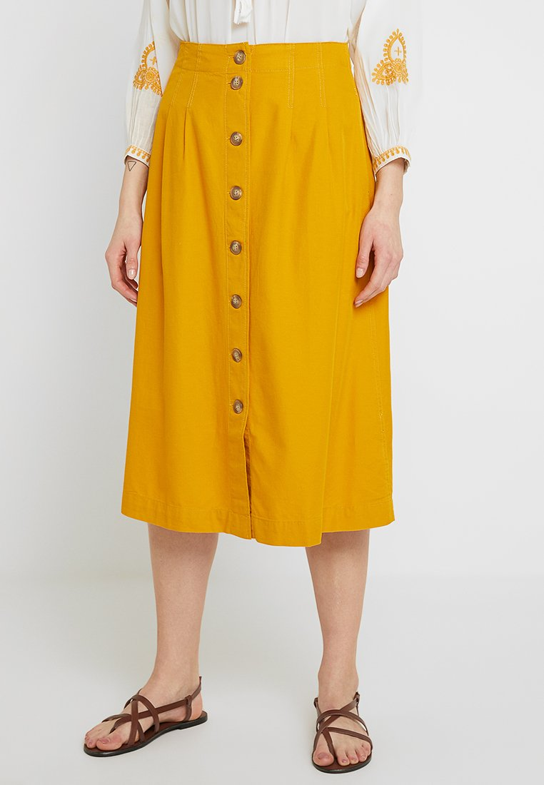 Madewell - SOLID BUTTON FRONT MIDI SKIRT - A-line skirt - tungsten glow
