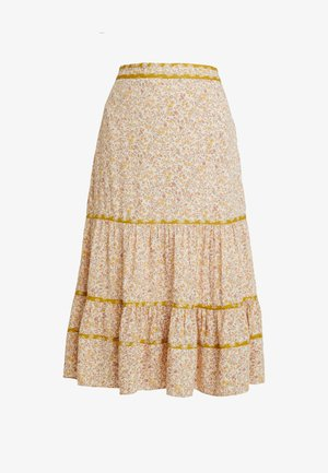 TIERED SKIRT BINDING LAWN PRINT MIX - A-line skirt - beige