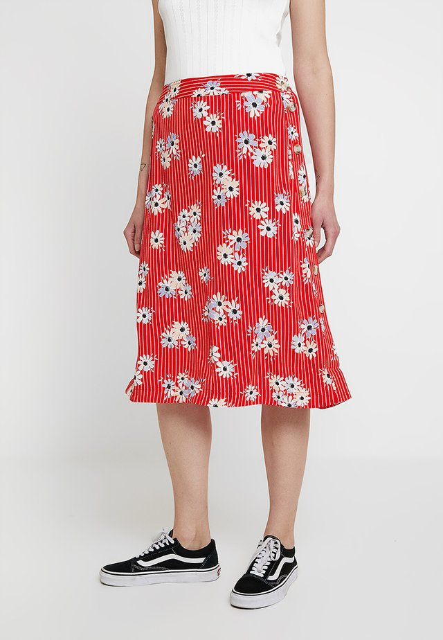 SIDE BUTTON MIDI SKIRT - A-Linien-Rock - lipstick red