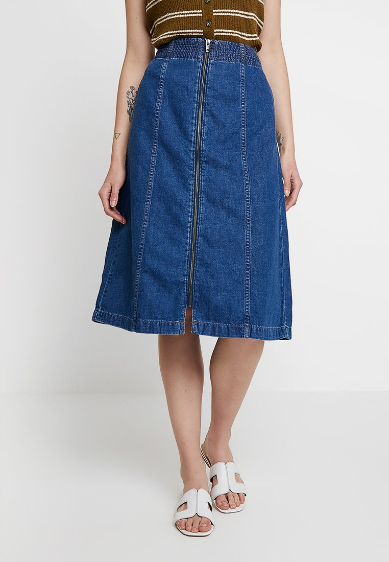 Madewell - ZIP FRONT MIDI SKIRT - A-line skirt - farley wash