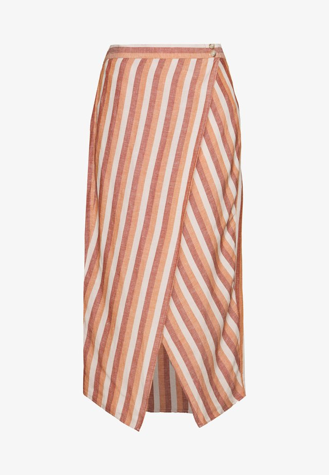 OVERLAY MIDI SKIRT IN STRIPE - A-Linien-Rock - pink/white