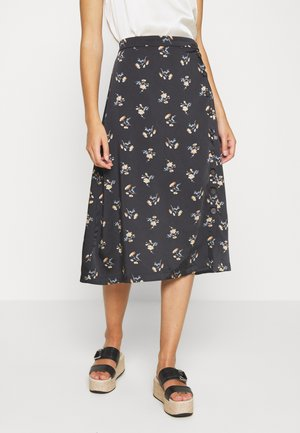 SIDE BUTTON MIDI SKIRT IN GENGY FLORAL - A-line skirt - true black