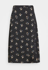Madewell - SIDE BUTTON MIDI SKIRT IN GENGY FLORAL - A-line skirt - true black - 3