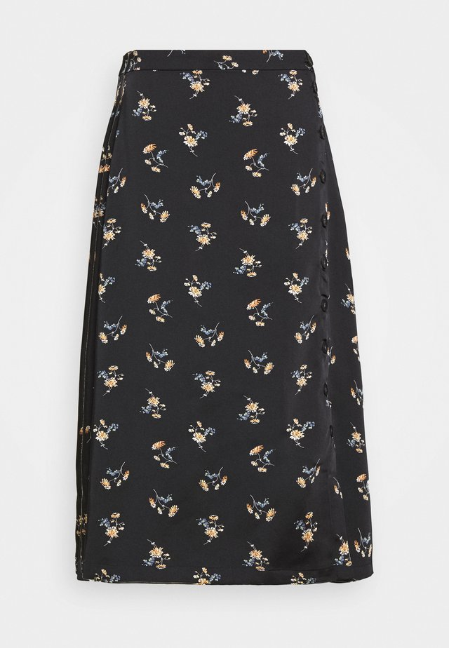 SIDE BUTTON MIDI SKIRT IN GENGY FLORAL - Jupe trapèze - true black