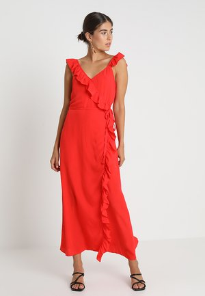 SOLID RUFFLE WRAP DRESS - Maxi dress - ripe persimmon