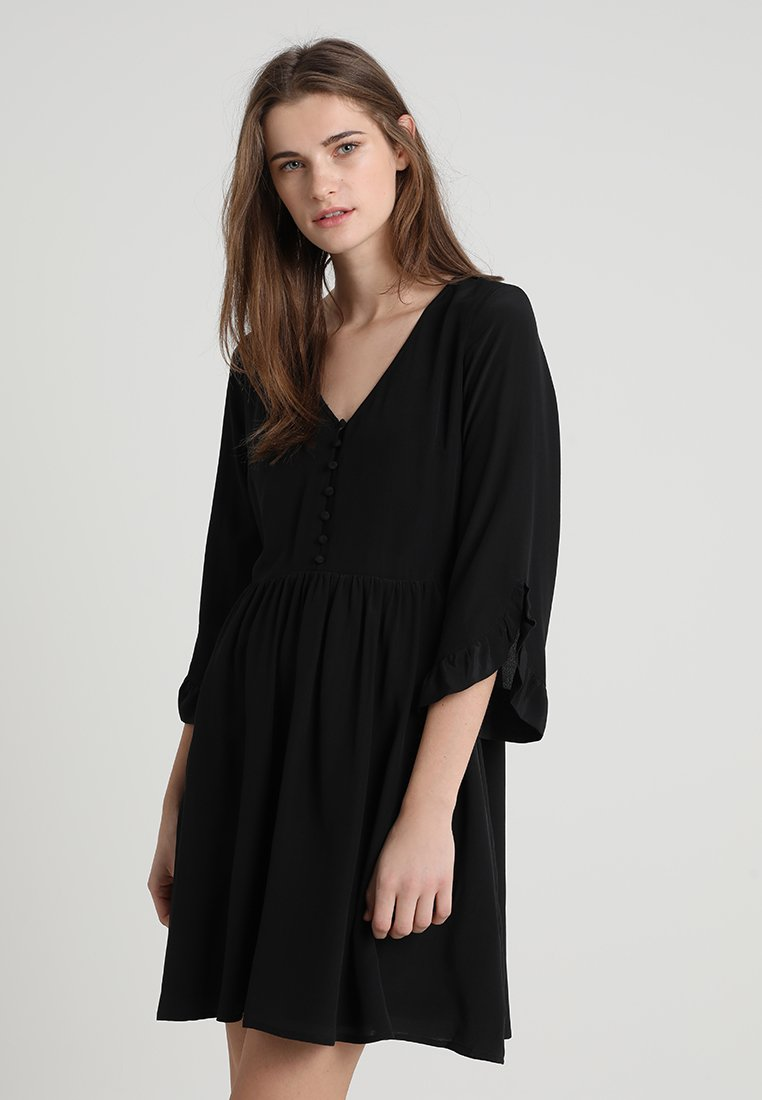 Madewell - VNECK BUTTON FRONT RETRO DRESS - Vestito estivo - true black