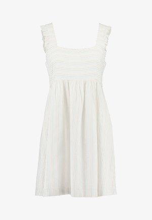 STRIPE SQUARE NECK DRESS - Denní šaty - pale parchment
