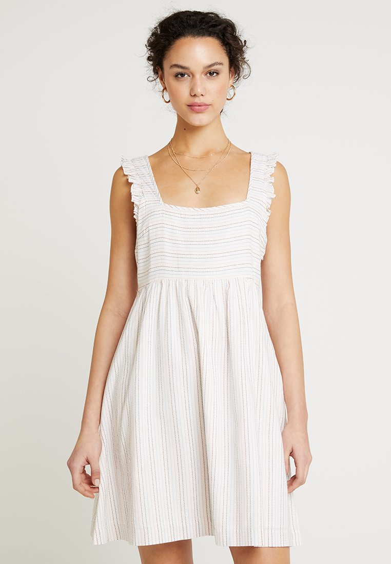 Madewell - STRIPE SQUARE NECK DRESS - Day dress - pale parchment
