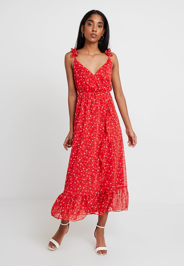 Madewell - RUFFLE STRAP WRAP TIER DRESS - Maxi dress - prairie enamel red