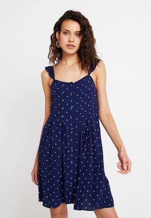 RUFFLE TIE STRAP RELEASE PLEAT DRESS - Shirt dress - nightfall