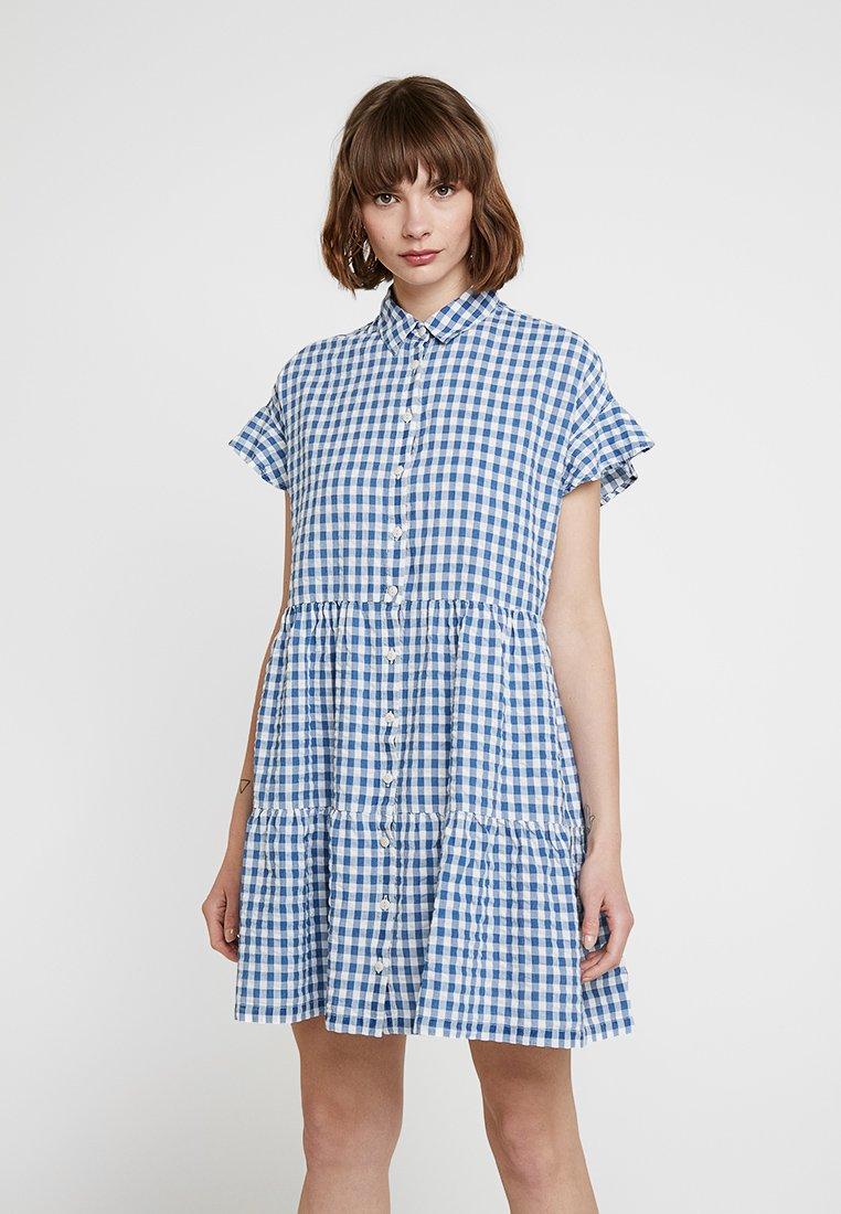 Madewell - CENTRAL RUFFLE SLEEVE DRESS IN LOGAN GINGHAM - Shirt dress - blue