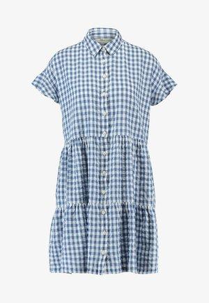 CENTRAL RUFFLE SLEEVE DRESS IN LOGAN GINGHAM - Sukienka koszulowa - blue