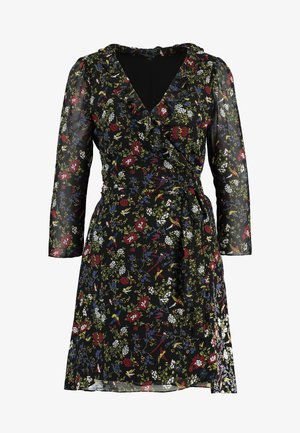 RUFFLE WRAP DRESS IN BIRD FLORAL - Kjole - true black