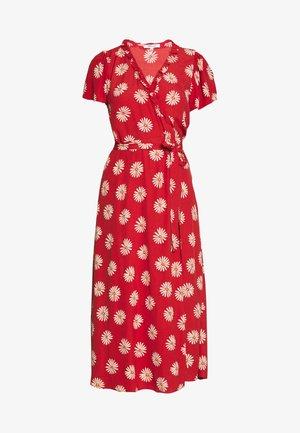 RUFFLE TRIM WRAP MIDI DRESS - Denní šaty - red