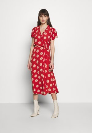 RUFFLE TRIM WRAP MIDI DRESS - Denní šaty - red
