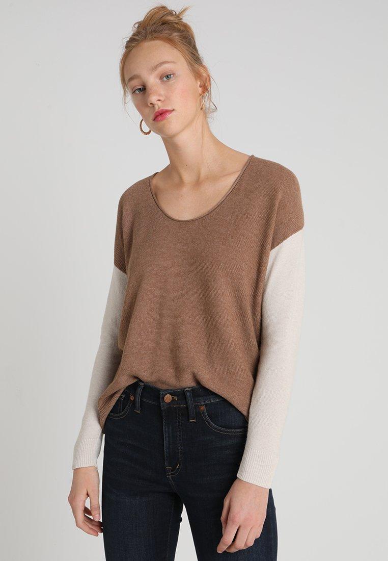 Madewell - COLORBLOCK CATALINA - Jumper - brown/beige