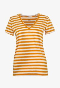 Madewell - WHISPER VNECK POCKET TEE STRIPE - Print T-shirt - burnished caramel hojicha - 3