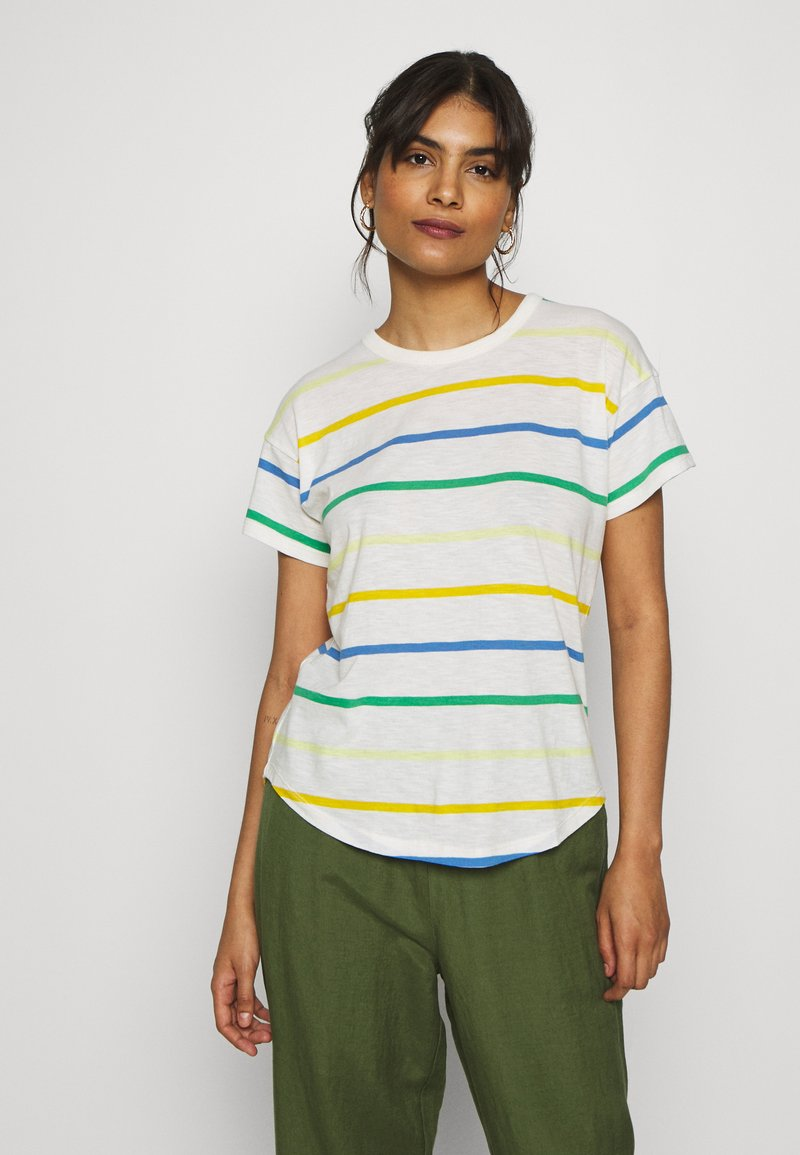 Madewell - WHISPER CREWNECK TEE IN STORM STRIPE - Print T-shirt - hermitage blue