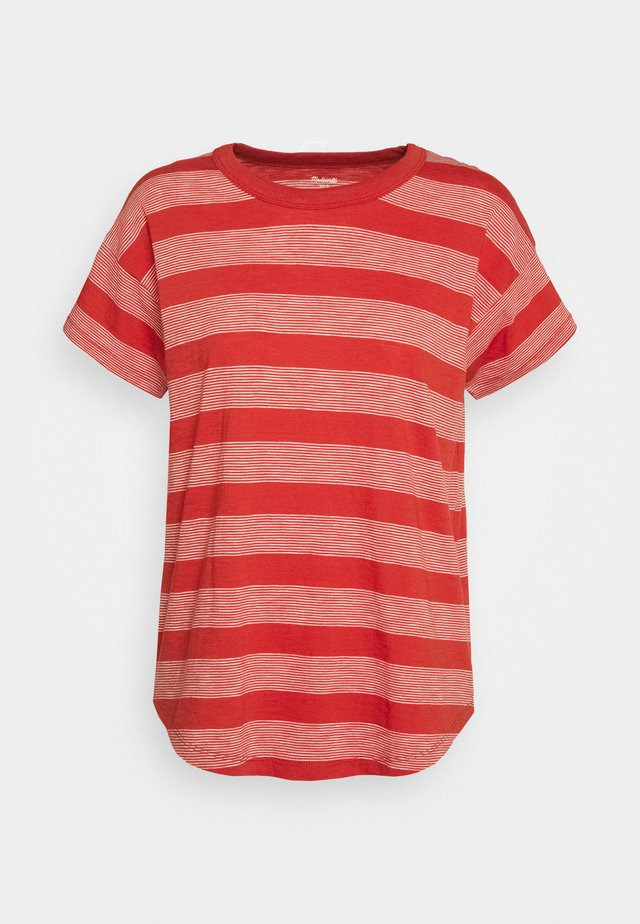SORREL WHISPER CREWNECK TEE IN DEADPOOL STRIPE - T-shirt print - thai chili