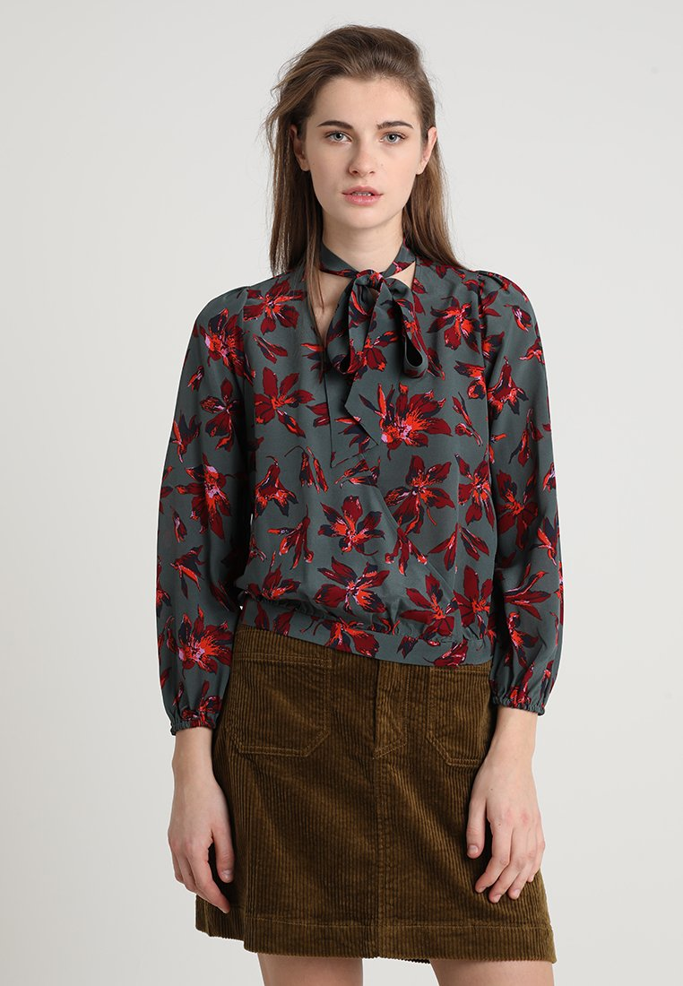 Madewell - WRAP IN AMERICAN FLORAL - Bluse - brigette architect green