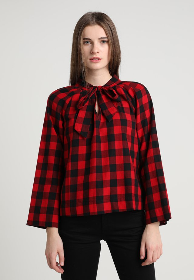 TIE NECK IN CHECK - Blouse - cranberry
