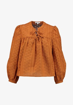 EYELET DOUBLE TIE PEASANT - Camicetta - carrot cake