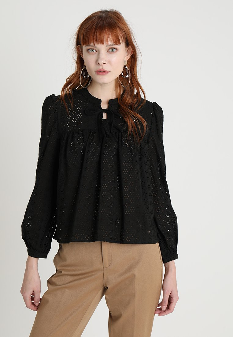 Madewell - EYELET DOUBLE TIE PEASANT - Blusa - true black