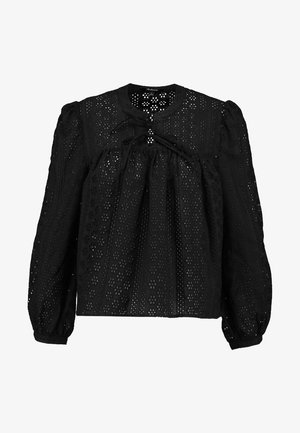 EYELET DOUBLE TIE PEASANT - Blusa - true black