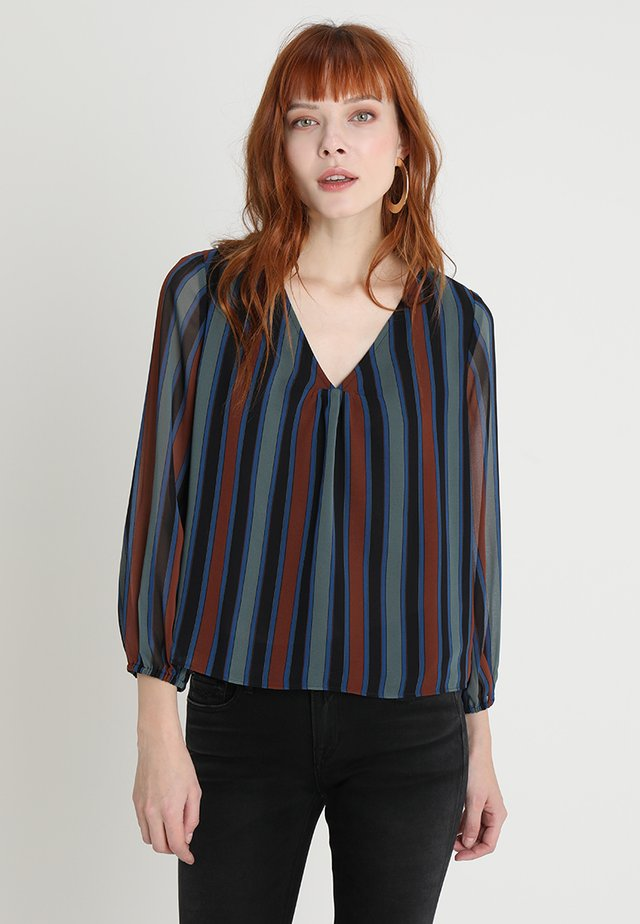 SHEER SLEEVE IN STRIPE - Bluse - winter architect green