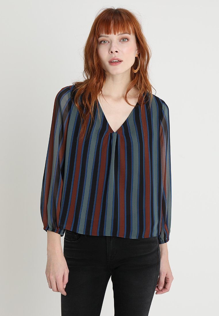 Madewell - SHEER SLEEVE IN STRIPE - Bluse - winter architect green
