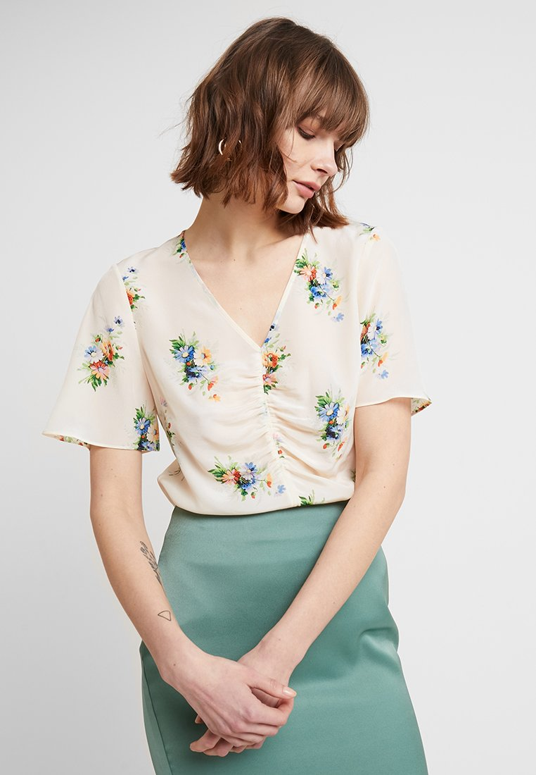 Madewell - CINCH FRONT NOSEGAY FLORAL - Bluser - off white