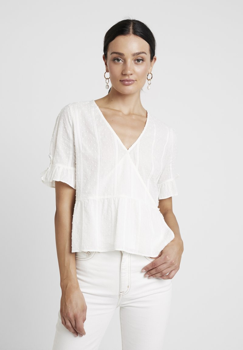 Madewell - TIE SLEEVE WRAP IN SWISS DOT - Blouse - pale