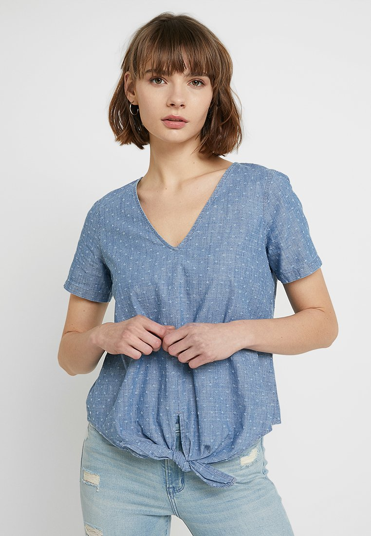 Madewell - VNECK TIE FRONT - Blouse - lasercut chambray
