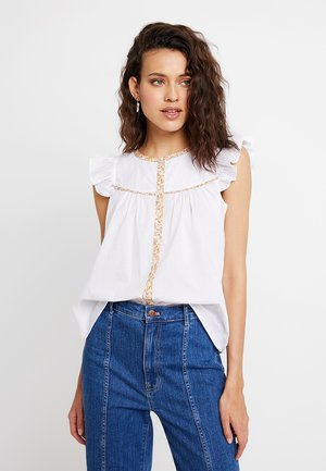 BUTTON DOWN FLUTTER SLEEVE IN PRINT BINDING - Blouse - eyelet white