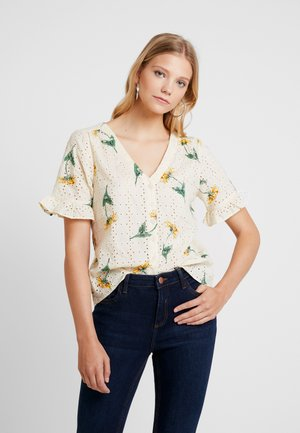 RUFFLE SLEEVE BUTTON V NECK - Blouse - pearl ivory