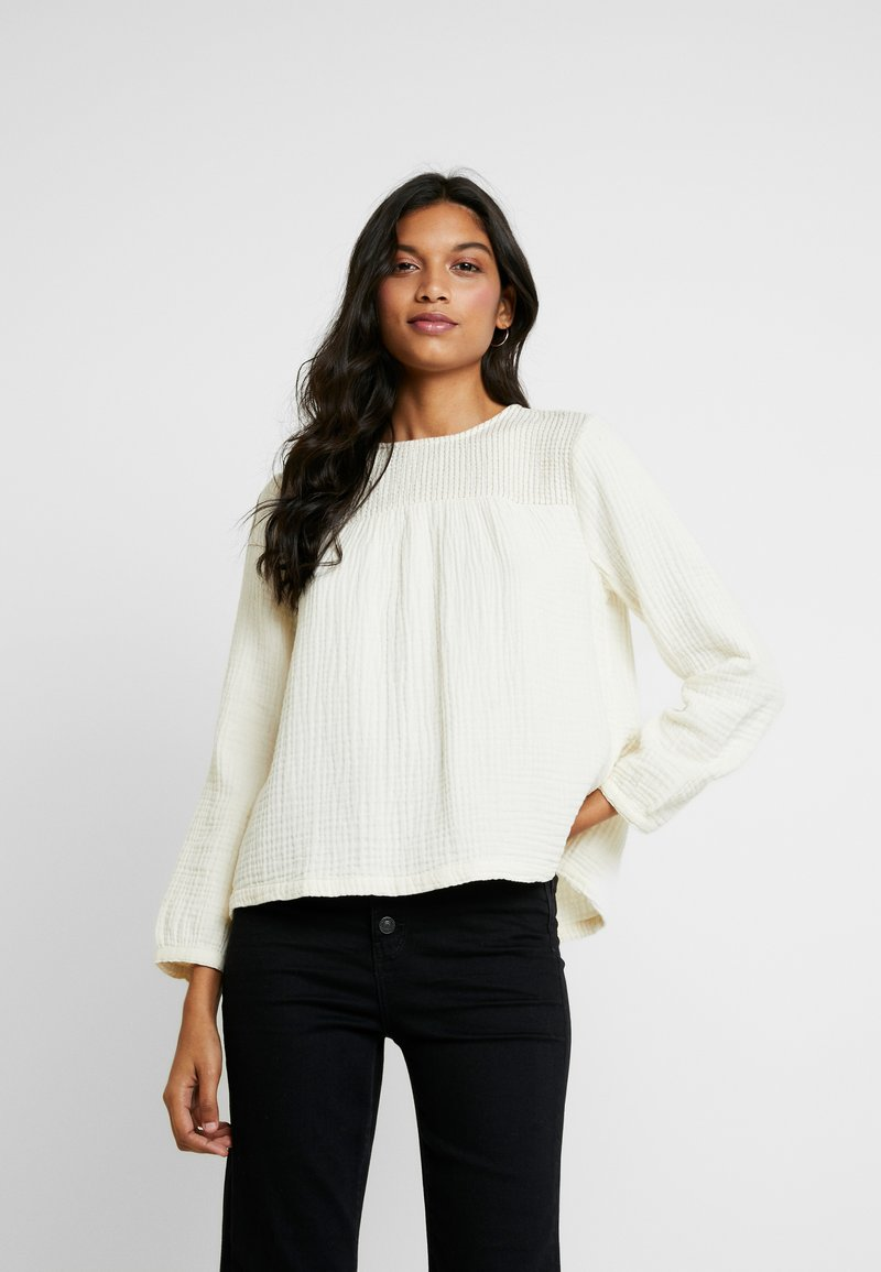 Madewell - SMOCKED TEXTURED FABRIC - Blouse - antique cream