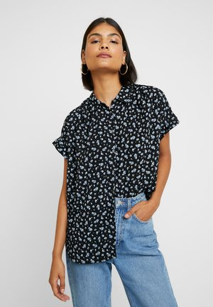 CENTRAL DRAPEY FLORAL - Button-down blouse - true black