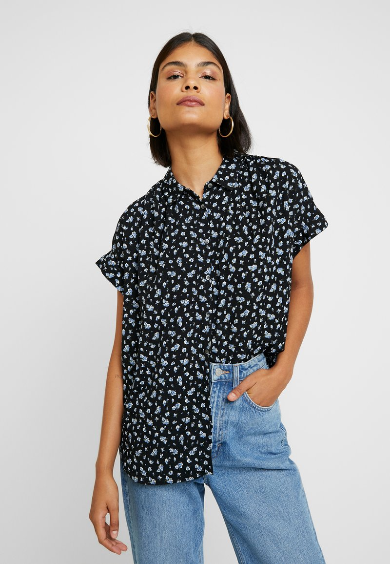 Madewell - CENTRAL DRAPEY FLORAL - Button-down blouse - true black
