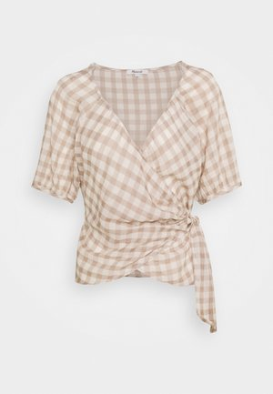 LUCY WRAP IN GINGHAM - Blůza - brown/white