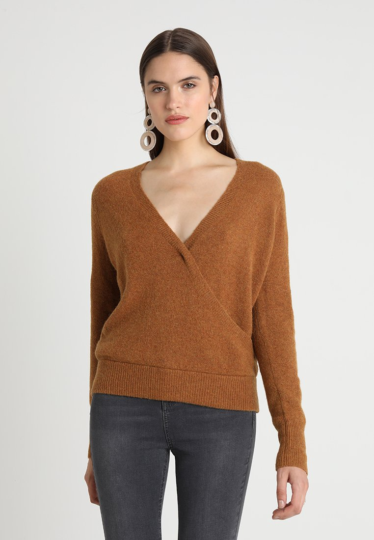 Madewell - MARISA WRAP FRONT  - Strickpullover - heather harvest