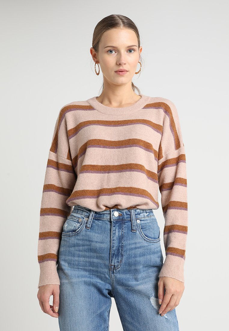Madewell - STRIPED JORDY - Strickpullover - heather beige